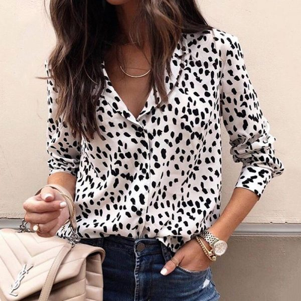 Leopard Blouse V Neck Shirt