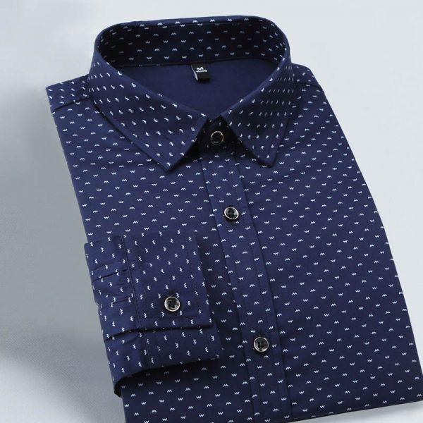 Long Sleeve Shirt Men Polka Dot
