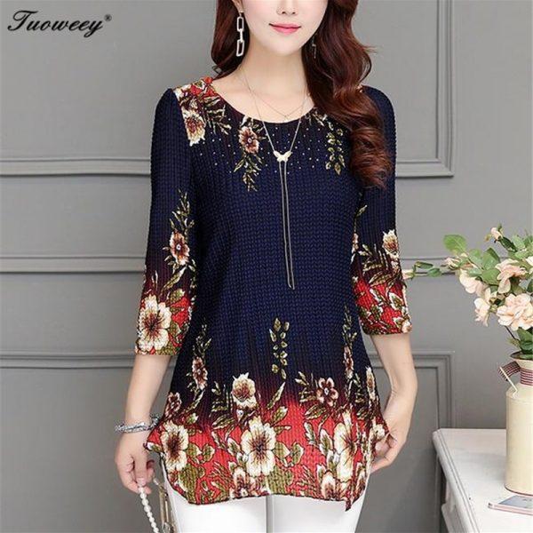 Slim Floral Long Shirt Printed Blouse