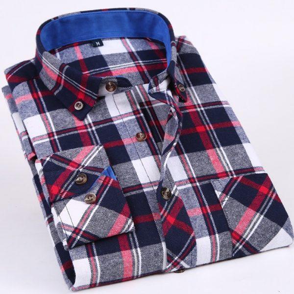 Flannel Plaid Shirt Men Social Shirt