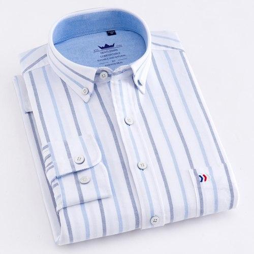 Oxford Plaid Striped Shirts Dress Shirt