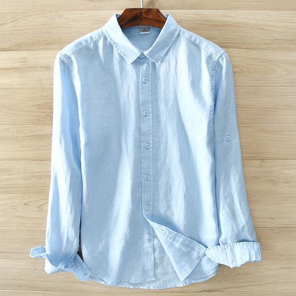 Pure Linen Long Sleeved Shirt