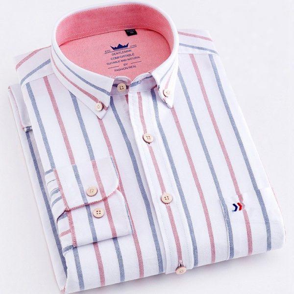 Striped Oxford Dress Shirt Men