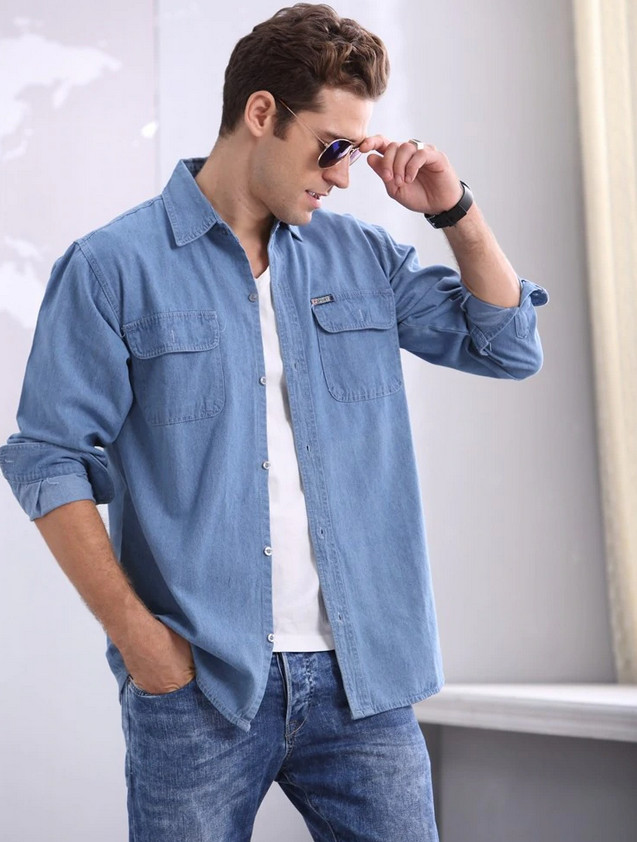 Basic Styles of Denim Shirt Men