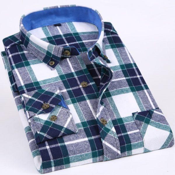 Flannel Plaid Shirts Slim Social Shirt