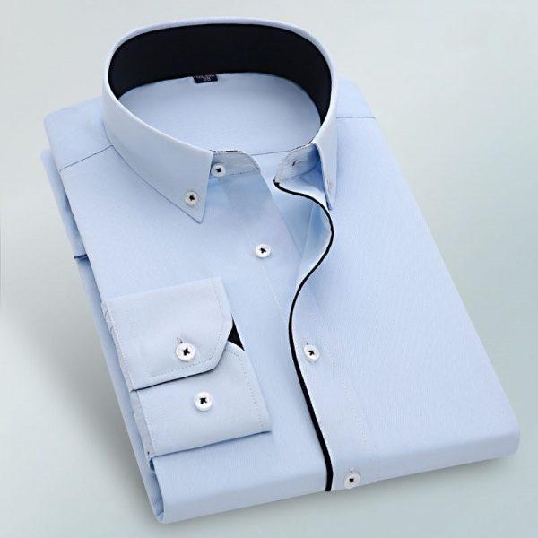 Long Sleeve Slim Fit Twill Shirt Male Dress Shirts