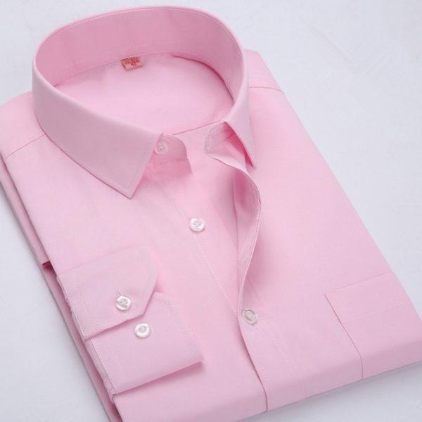 Long Sleeve Solid Shirt Men Casual Social Shirts