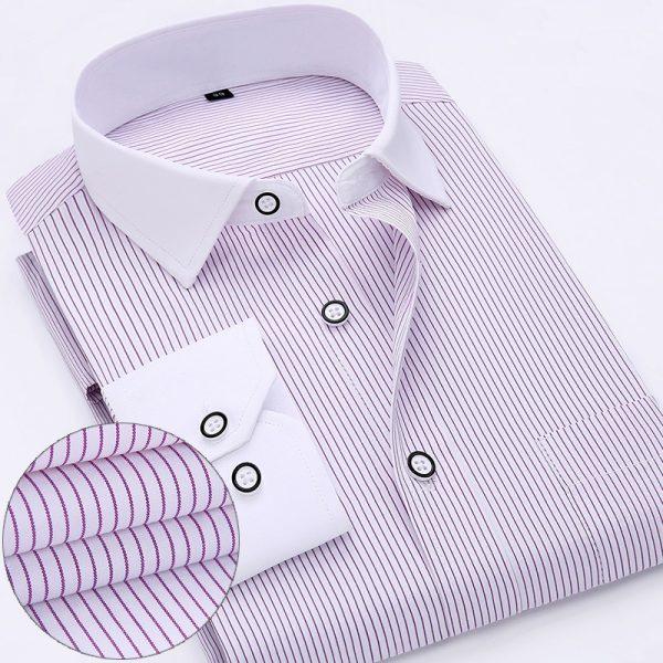 Long Sleeve Striped Shirt Men Dress Shirts