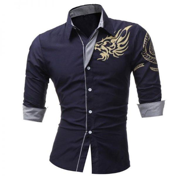 Long-Sleeved Dress Shirt Dragons Men Shirts