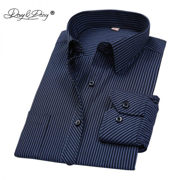 Men Shirts Striped Business Shirt