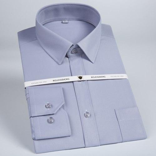 Men Solid Twill Dress Shirt Formal Shirts