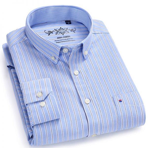 Plaid Checked Shirts Oxford Button-down Shirt