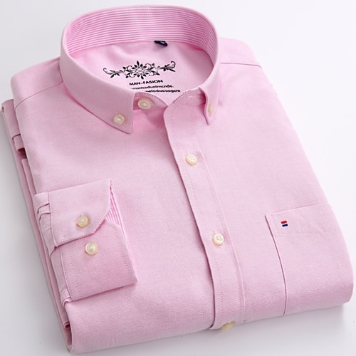 Solid Oxford Dress Shirt Casual Regular Shirts