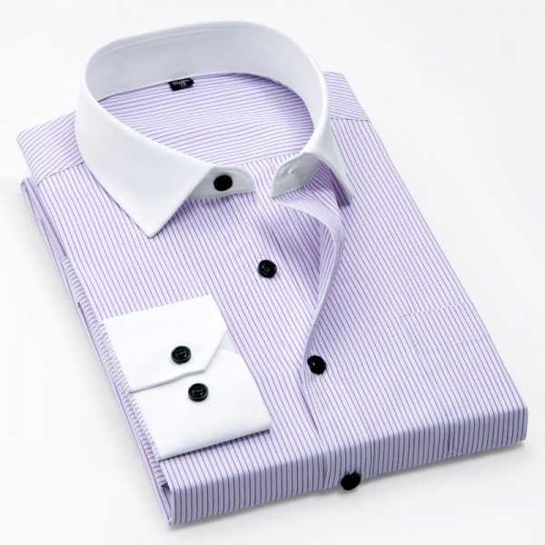 White Collar Shirts Slim Fit Solid Striped Shirts