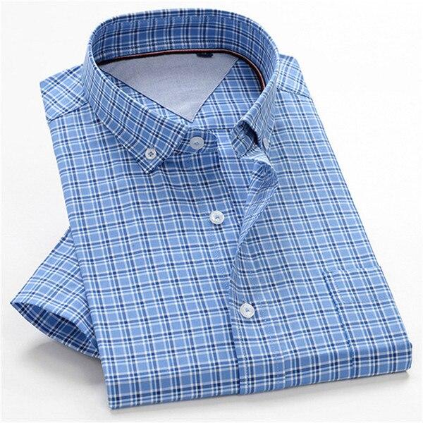 100% Cotton Plaid Shirts Summer Men Shirt