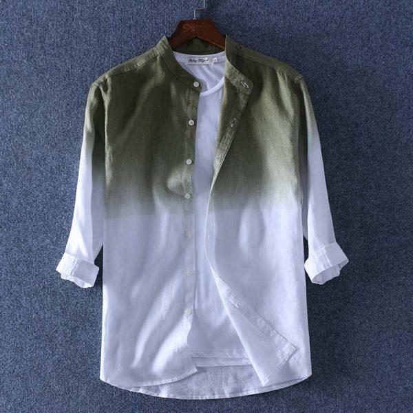 100% Linen Shirt Three Quarter Sleeve Shirts