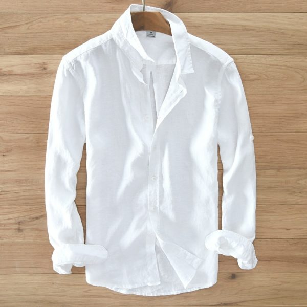 100% Pure Linen Long Sleeved Shirt Solid Color Shirts