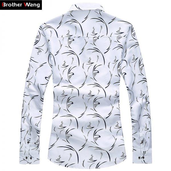 Business Leisure Print Shirts Long Sleeve Shirt