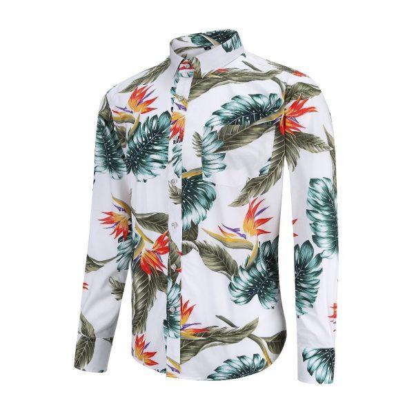 Fashion Casual Shirts Flower Print Cotton Shirt