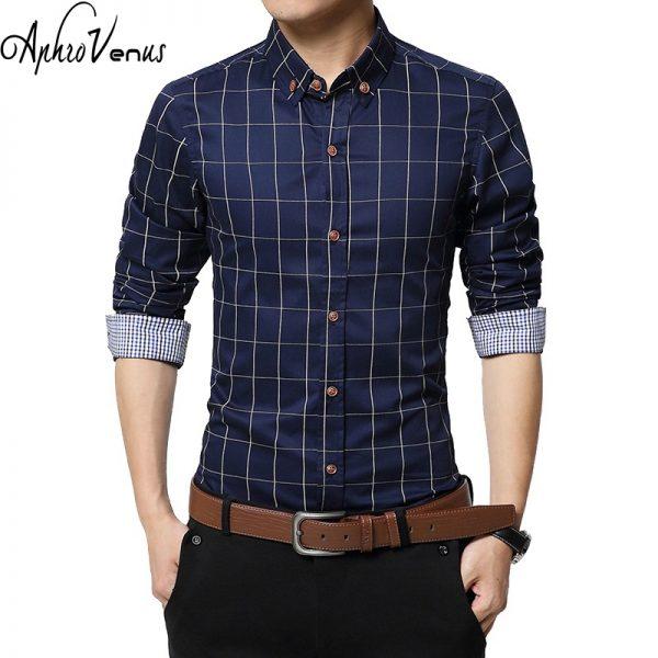 Fashion Men Clothes Slim Fit Long Sleeve Shirt