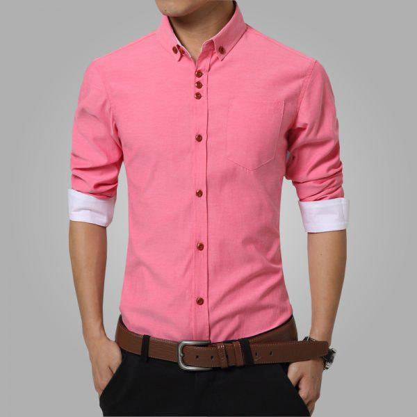 Men's Dress Shirts Cotton Solid Casual Shirt