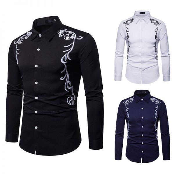 Men's Shirt Embroidered Lapel Shirt