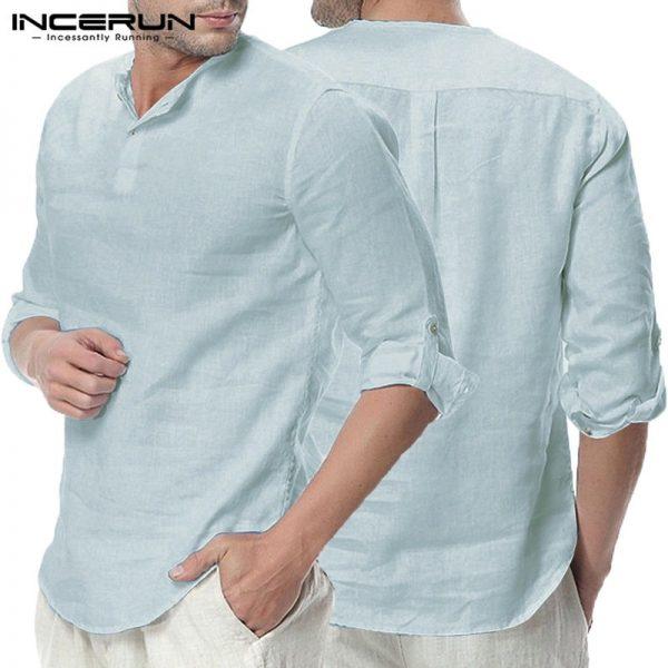 Men Casual Shirts Henley Collar V Neck Tops