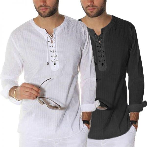 Men Casual Shirts Tunic Tops Male Blouse