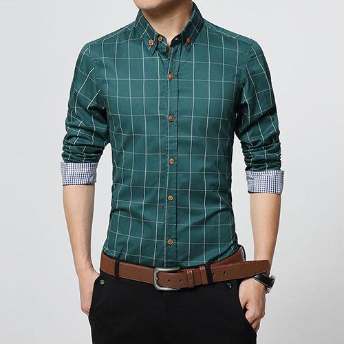 Men Clothes Slim Fit Long Sleeve Shirt