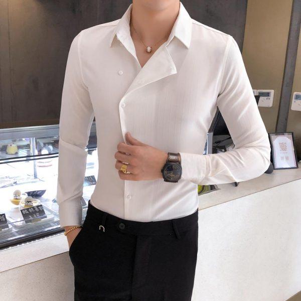 Men Fashion Partial Threshold Shirt