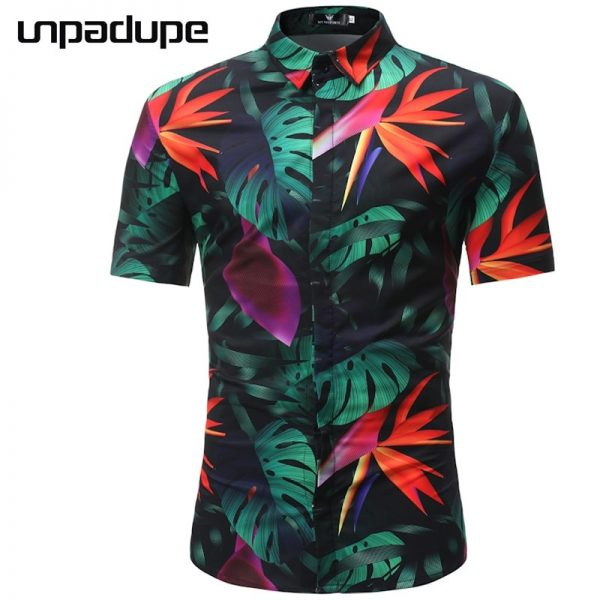 Men Hawaiian Shirt Casual Beach Shirts
