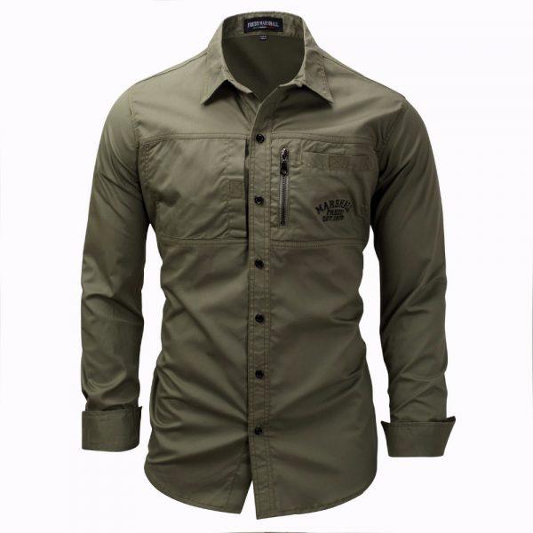 Men Shirt Military Khaki Army Green Shirts