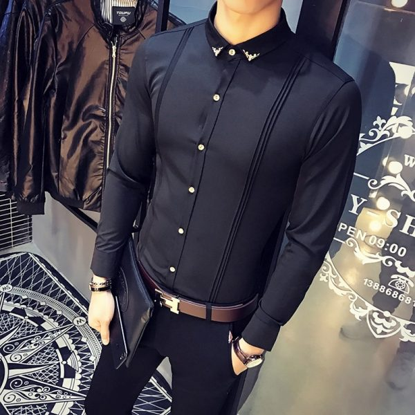 Mens Shirt Slim Fit Tuxedo Shirts