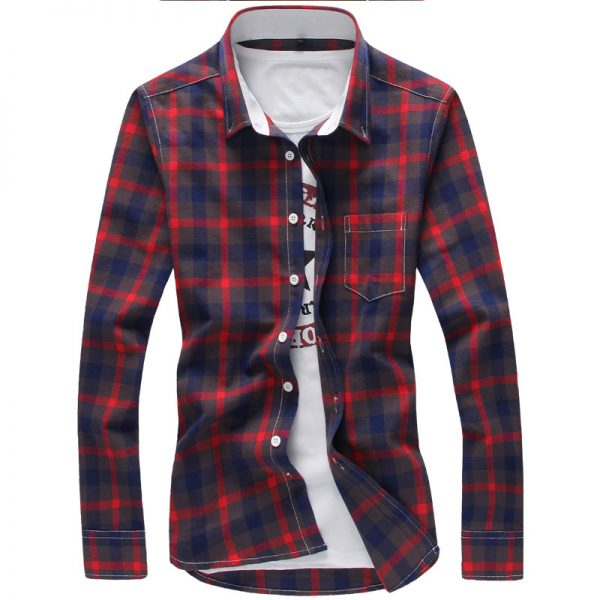 Plaid Shirts Men Checkered Shirt