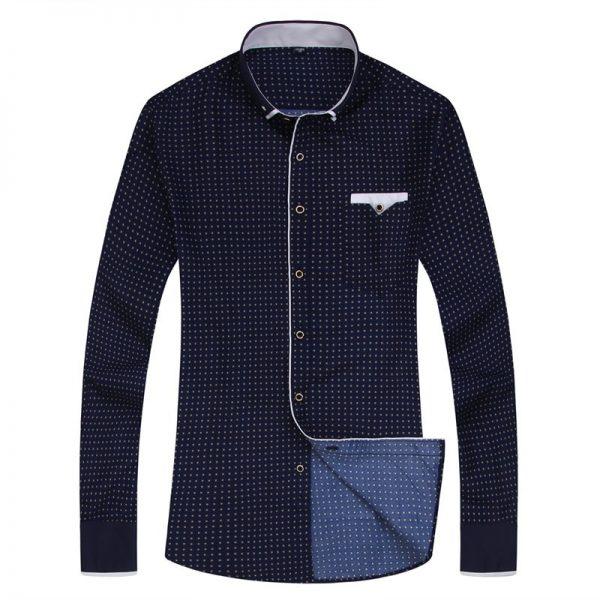 Print Casual Shirts Men Long Sleeve Shirt