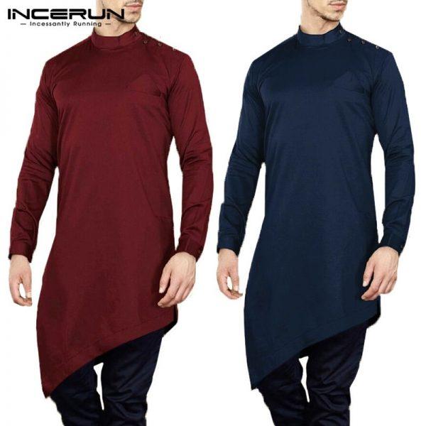 Retro Men Shirts Irregular Hem Dress Shirts