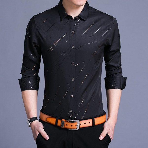Spring Men Shirt Fashion Print Social Shirt