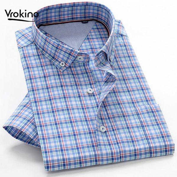 Summer Shirts Men 100% Cotton Short Sleeve Shirt