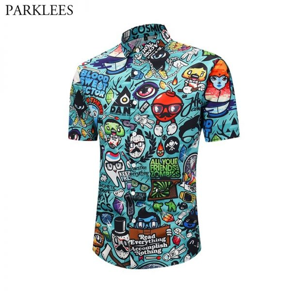 3D Cartoon Print Hawaiian Shirt