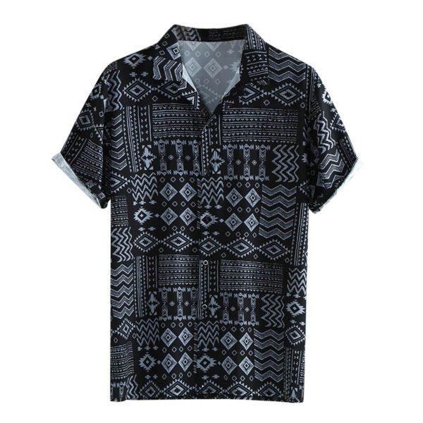 Fashion Men's Shirts Leaf Print Shirt