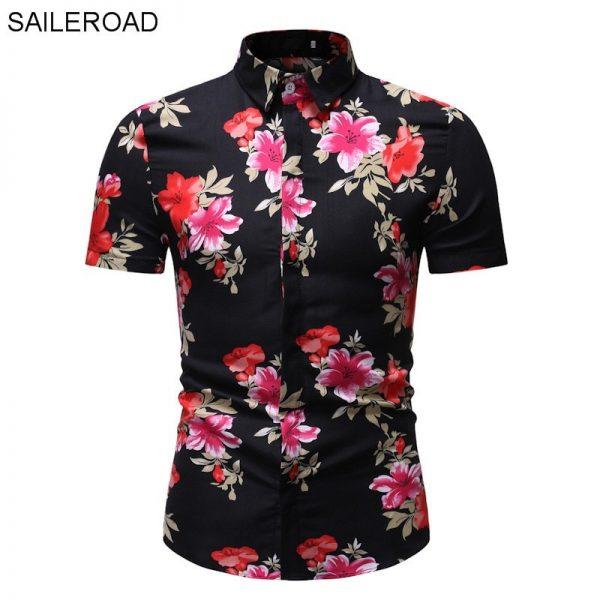 Flower Shirt Men Print Shirts