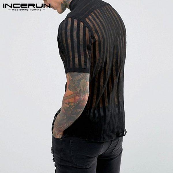 Striped Sexy Shirt Men Shirts