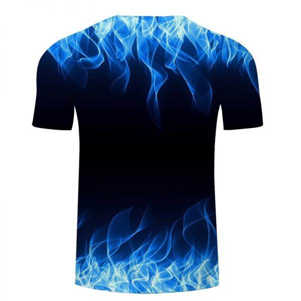 Blue Flaming Tshirt Men Women 3d T-shirt