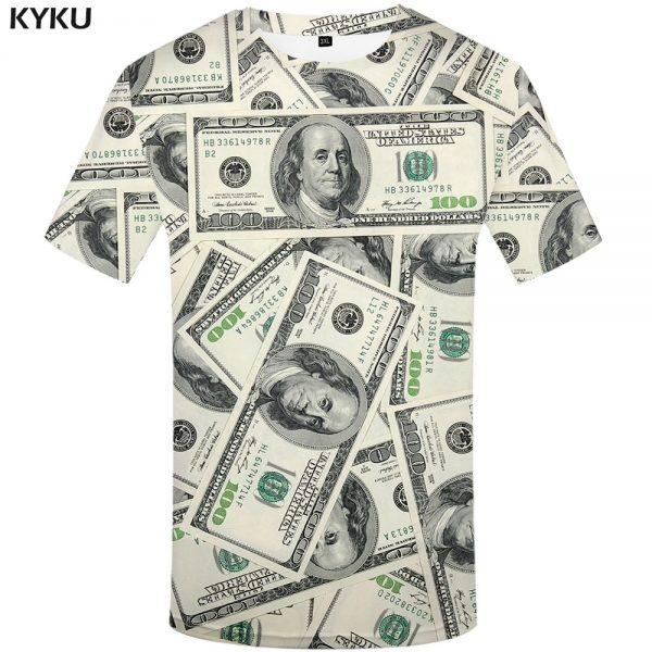 Dollar T Shirt Men Money Tshirts Gothic 3d T-shirt