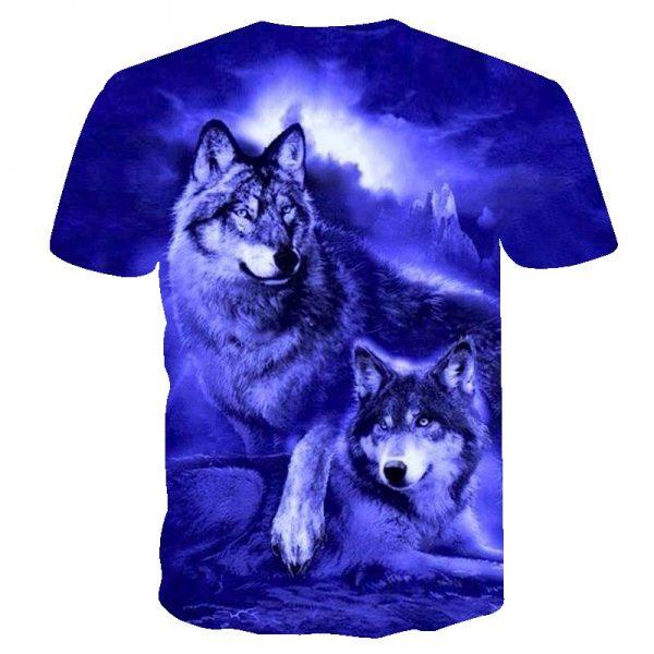 Flame Wolf Printed 3D T shirts Men T-shirts