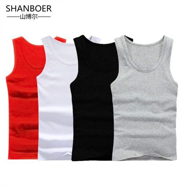 Men Close-fitting Vest Cotton Solid Undershirts