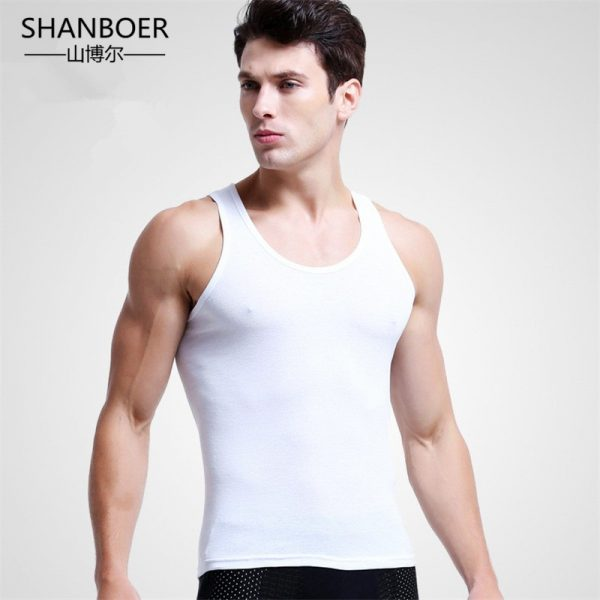 Men Close-fitting Vest Cotton Solid Undershirts