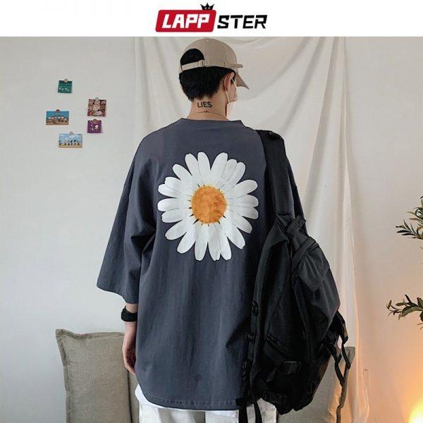Men Harajuku Flower Print T Shirts