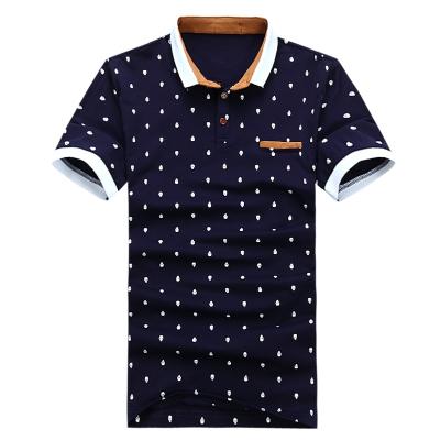 POLO Shirt Men Cotton Skull Dots Print Shirts