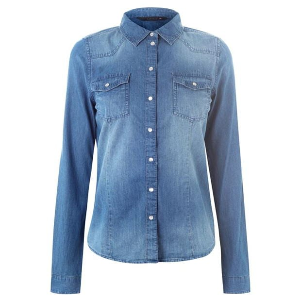 Blue Denim Shirt Looks Good With So Many Different Clothing Pieces